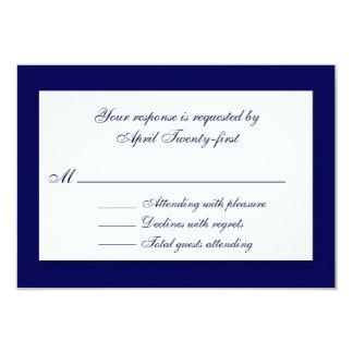 Stylish Blue & White Wedding RSVP Card