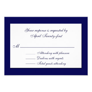 Stylish Blue White Wedding RSVP Card Personalized Announcements