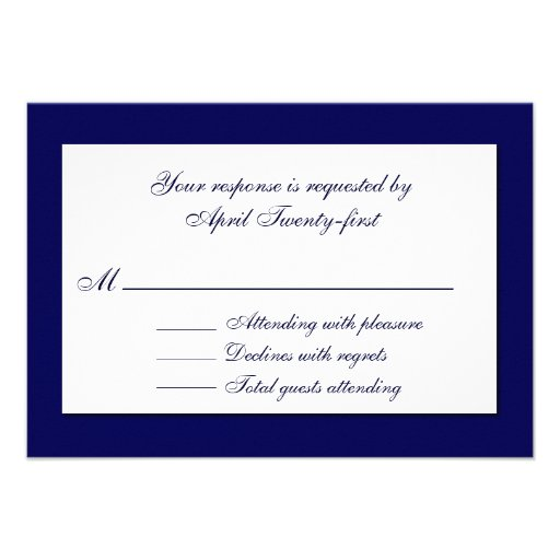 Stylish Blue & White Wedding RSVP Card Personalized Announcements