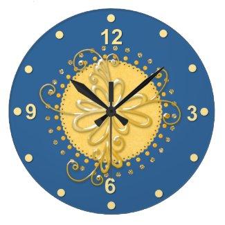 Stylish Blue & Yellow Wall Clock