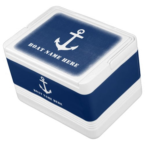 Stylish Boat Anchor on Navy Blue  Your Boat Name Cooler