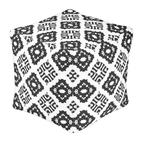 Stylish Boho Chic Black and White Geometric Pouf