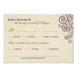 Stylish Boho Purple Spirals Wedding RSVP Card Personalized Invites