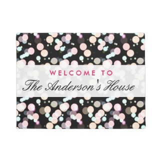 Stylish Bokeh Blur Dots Background Welcome Decor Doormat