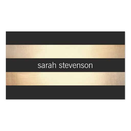 Stylish Bold Gold and Black Striped Modern Double-sided Standard Business Cards (pack Of 100)