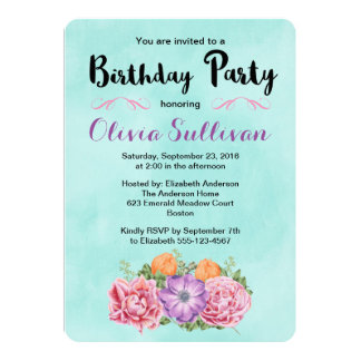 Stylish Bouquet of Watercolor Flowers Birthday Card