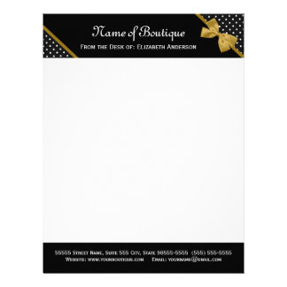 Stylish Boutique Polka Dots Elegant Gold Ribbon Letterhead
