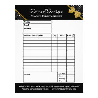 Stylish Boutique Polka Dots Gold Ribbon Order Form Flyer