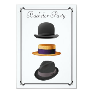 "Stylish Bowler Straw Fedora Hat Bachelor Party 5"" X 7"" Invitation Card"