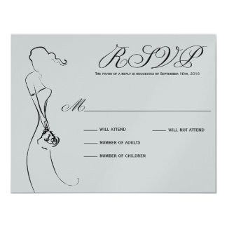 Stylish Bride Black and Silver RSVP Card