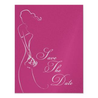 Stylish Bride Fuschia Save The Date Announcement