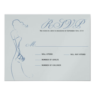 Stylish Bride Periwinkle RSVP Card