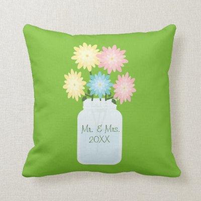 Stylish Bright Green Floral Mason Jar Wedding Throw Pillow
