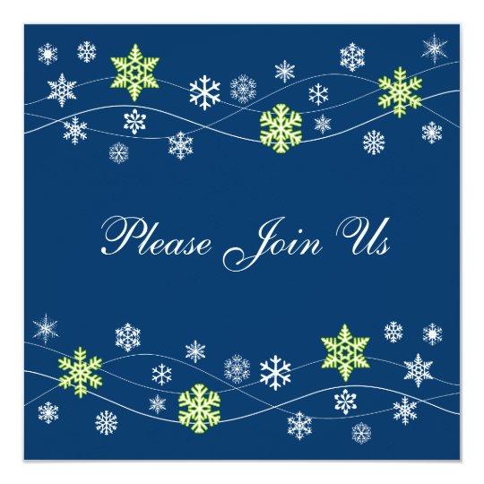 Stylish Bright Green Snowflake Invitation