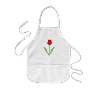 Stylish Bright Red Tulip. Kids' Apron