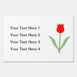 Stylish Bright Red Tulip Lawn Signs