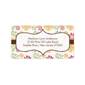 Stylish Brown Fall Flowers Return Address Labels. Label