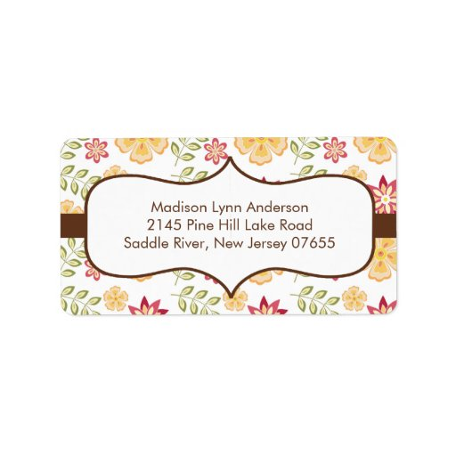Stylish Brown Fall Flowers Return Address Labels. Label