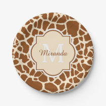 Stylish Brown Giraffe Print Monogram and Name Paper Plate