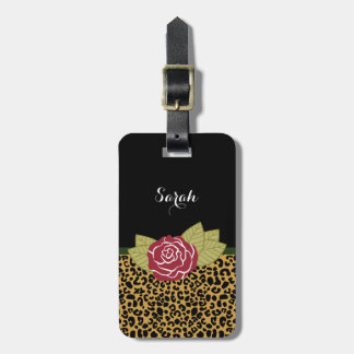 Stylish Brown Gold Leopard Print Red Rose and Name Tag For Luggage