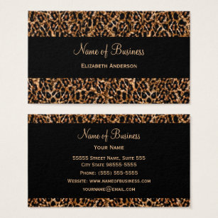 Animal print business cards templates zazzle stylish brown leopard print luxury animal pattern business card colourmoves Images