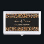 """Stylish Brown Leopard Print Luxury Animal Pattern Business Card Holder<br><div class=""""desc"""">An elegant luxury animal pattern business card case with a stylish brown leopard print. Personalize this chic and modern fashion business card holder by adding your name and boutique to the custom text template areas. Flat printed image,  not fur texture.</div>"""