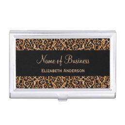 Stylish Brown Leopard Print Luxury Animal Pattern Business Card Holder