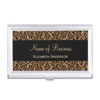 Stylish Brown Leopard Print Luxury Animal Pattern Business Card Holder
