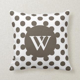 Stylish Brown & White Monogram Decorator Pillow