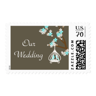 Stylish Brown with Love Birds Wedding Stamps