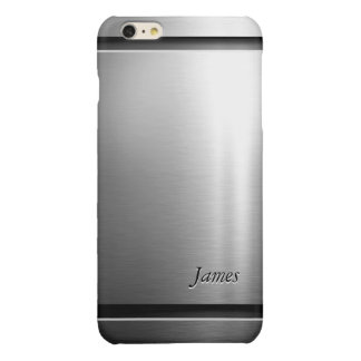 Stylish Brush Metal Stainless Steel Look Glossy iPhone 6 Plus Case