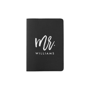 "heartlocked Stylish Brush Script ""Mr Last Name"" Passport Holder"