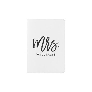 "heartlocked Stylish Brush Script ""Mrs Last Name"" Passport Holder"