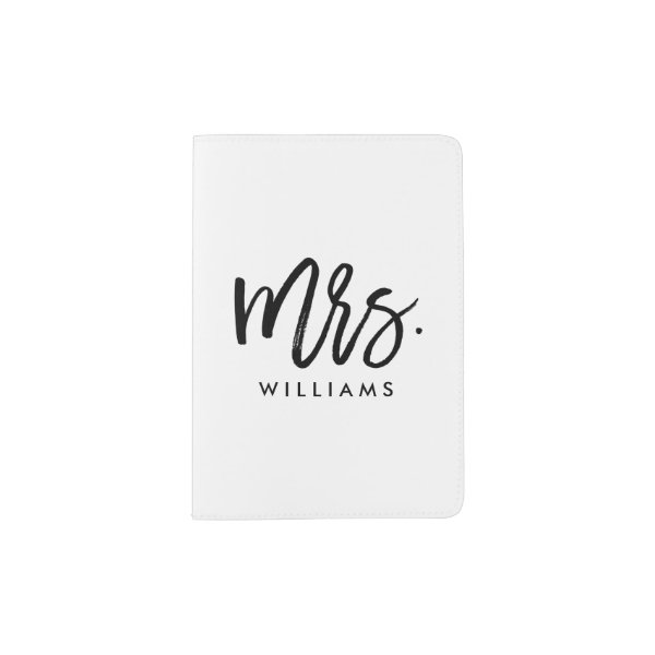 "Stylish Brush Script ""Mrs Last Name"" Passport Holder"