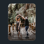 """Stylish Brush Script Save the Date Magnet<br><div class=""""desc"""">Share your wedding date in style with this stylish and unique brush script style wedding photo magnet. A unique save the date perfect for any newly engaged couple.</div>"""
