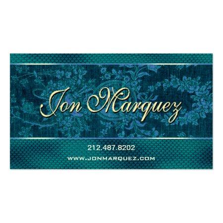 Blue Vintage Renaissance Business Cards