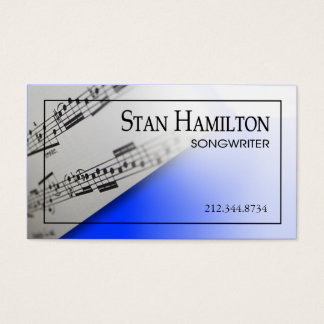 "Stylish Business Card - Songwriter ""Sheet Music"""