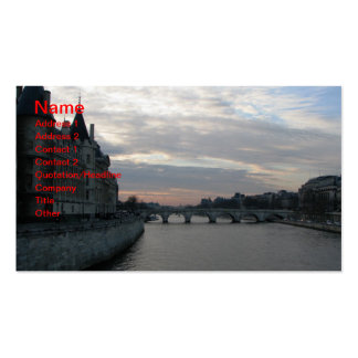 Stylish Business Card with sunset in Paris