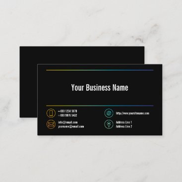 Stylish Business Colorful Lines Icons Black Business Card
