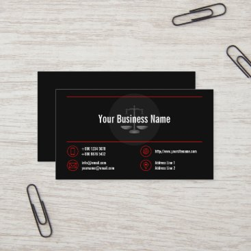 Stylish Business Logo Red Lines Red Icons Black Business Card