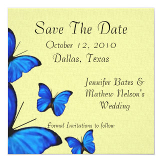 """Stylish Butterflies Save the Date Annoucements 5.25"""" Square Invitation Card"""
