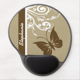 Stylish Butterfly and flourish swirls in chocolate Gel Mouse Pad