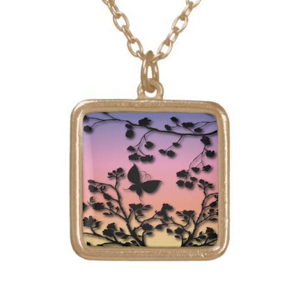 Stylish Butterfly on Rainbow Gradient Square Pendant Necklace