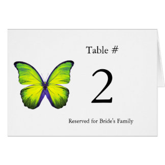 Stylish Butterfly Reception Table Number Cards