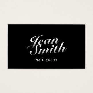 Stylish Calligraphic Nail Art Business Card