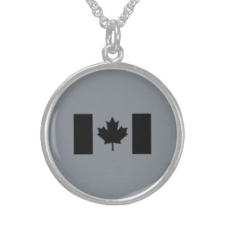 Stylish Canadian Flag in Black Sterling Silver Necklace