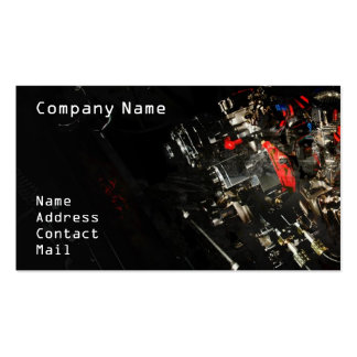 Stylish Car engine fragment in black Business Card Template