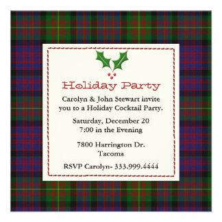 Stylish Carnegie Tartan Plaid Custom Holiday Party Announcements