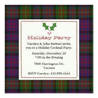 Stylish Carnegie Tartan Plaid Custom Holiday Party Invitation