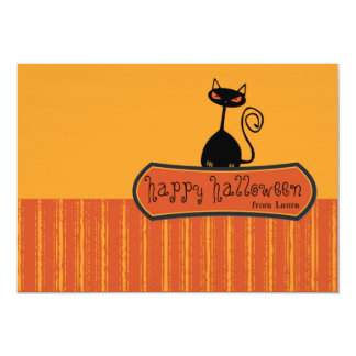Stylish cat -halloween greetings custom announcements